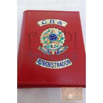 Porta Cheques Notas Cra Administrador Couro Legítimo Brasão