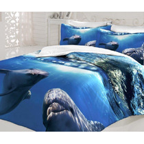 3d Casa Dora Cetim Casal Jogo De (lençol) Cama/ocean