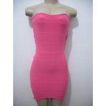 Vestido Rosa Pink Curto Bandage Lança Perfume Veste P Até M