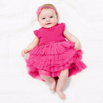 Vestido Bebê Menina Infantil Rosa Festa Aniversário Social