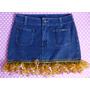Mini Saia Jeans 38 Com Babado Crochê