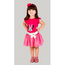 Vestido Infantil Minnie Rosa Pronta Entrega Tamanhos 2 E 4
