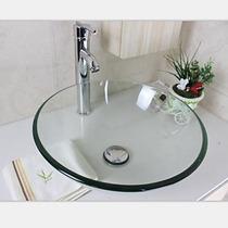 Kit Banheiro Cuba Vidro Redonda 30x30 E Valvula Inteligente