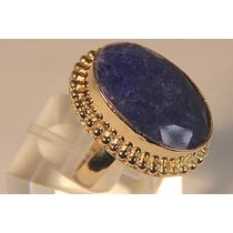 Rsp J2417 Anel Prata 925 A Ouro Safira Azul Lapidada