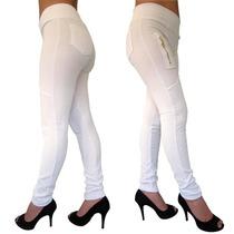 Calça Feminina Cintura Alta Bolso Branca Enfermagem Dentista