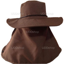 Chapéu Australiano C/ Protetor De Nuca P/ Pescador E Mateiro