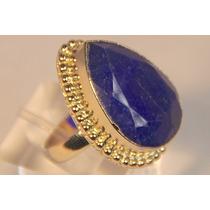 Rsp J2423 Anel Prata 925 A Ouro Safira Azul Lapidada