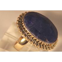 Rsp J2408 Anel Prata 925 A Ouro Safira Azul Lapidada