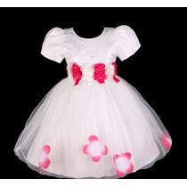 Vestido Infantil Festa Bebê/daminha Flores Na Cintura