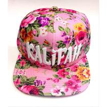 Boné Aba Reta Strapback Florido Floral Flores Kalifah Rosas