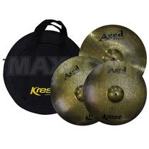 Kit Pratos P/ Bateria Krest Aged Brass - Maxcomp Musical