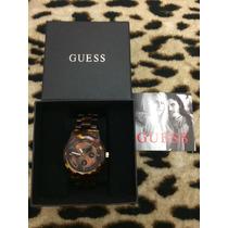 Relógio Feminino Guess Original, Tartaruga Marrom Dourado