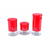 Kit 3 Potes Vermelho Herméticos Inox C/ Vidro Pronta Entrega
