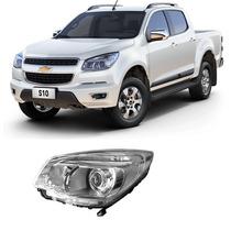 Farol Chevrolet S10 Ltz 2014 Com Projetor Cromado Esquerdo
