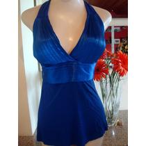 Regata Blusa Feminina Azul Royal Cetim Tamanho M