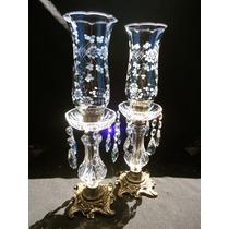 Grande Antigo Par De Castiçal Em Cristal E Bronze.