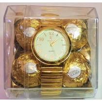 Relógio Feminino Dourado + Caixa C/ 4 Bombom Ferrero Rocher