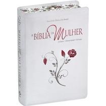 Bíblia Da Mulher Bordas Floridas Grande 17x23,5 + Capa Prot