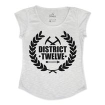 Tshirt Feminina Em Tecido Flamê - Jogos Vorazes-distrito 12