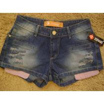 Short Azul/preto Jeans Destroyed(rasgado)-direto De Fábrica!