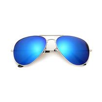 Óculos De Sol Aviador Lente Espelhada Azul Estilo Ray-ban