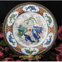 Prato Chinês Medalhão Pintado À Mão Dragões