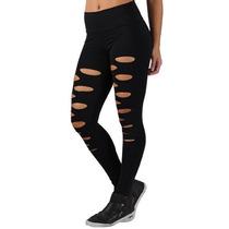 Calça Legging Fitness Suplex Feminina Rasgada / Giletada