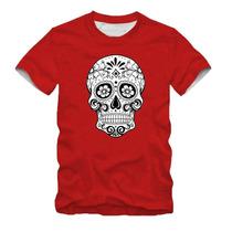 Camiseta Caveira Mexicana Floral Lançamento Camisa Masculina