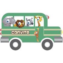 Kit Com 40 Convites De Aniversário Infantil Tema Safari Jipe
