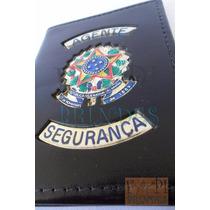 Porta Documentos Agente Segurança Brasão Tem Vigilante Couro