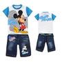 Conjunto Infantil Menino Camiseta Azul+ Bermuda Jeans Mickey