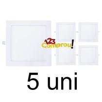 Kit 5 Painel Plafon 25w Led Quadrado Embutir - Frete Grátis