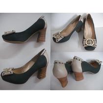 Sapato Feminino Scarpin Bicolor Tam 35 Verde E Bege