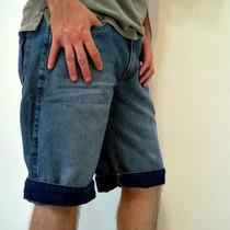 Bermuda Jeans Masculina Com Barra Colorida Red Way
