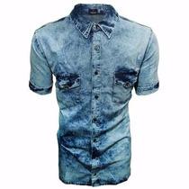 Camisa Jeans Claro Manchado Slim Fit Esporte Fino Casual