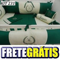 Kit Berço Personalizado 10pç Provençal Coroa Verde Com Bege
