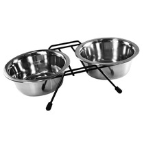 Comedouro Duplo Inox Doméstico Cães Suporte Western Pet-167