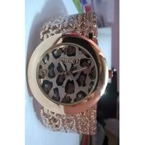 Relógio Gucci Feminino Bracelete Onça Oncinha Dourado