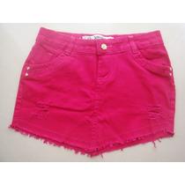 Saia Bico Mini Jeans Rasgada Verão Destroyed Pinkcurta