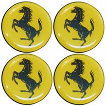 Jogo Emblemas Ferrari Amarelo Calota Ou Roda C/4 Peças 48mm
