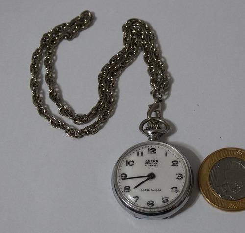 9d5d0710736 Relógio De Bolso Antigo - Suíço Aetos Geneve - 17 Jewels