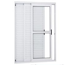 Porta Balcão 3 Folha Aluminio Veneziana Branco 1500mmx2000mm