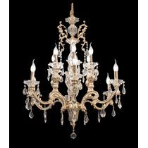 Lustre Candelabro Cristal Ouro 18k 12 Lâmpadas Sala Quarto