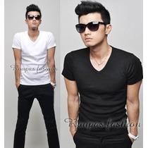 Camiseta Basica Gola V,slim,blusas,regata,viscose,camisas