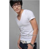 Camiseta Basica Gola V,slim,blusas,regata,viscose,musculação