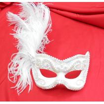 Mascara Branca Bordada Luxo Gala Noiva Festa Plumas
