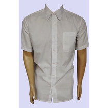 Camisa Tricoline Masculina Branca/preta Social Formal