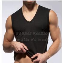 Camiseta Regata Gola V Sem Manga ,machão,slim Cavada Viscose