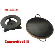 Fondue Kit 37 Cm Com Rechaud E Chapa De Carne Pedra Sabão