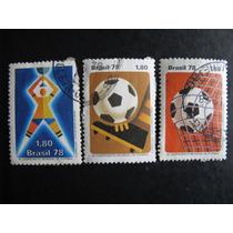 3 Selos Comemorativo Da Copa Do Mundo De 1978